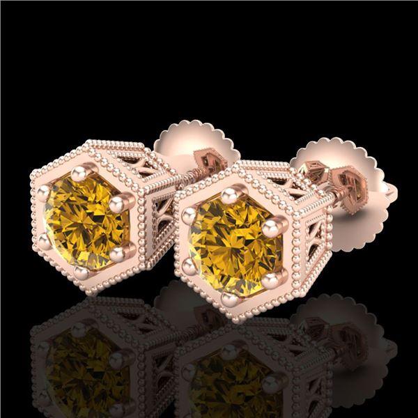 1.15 ctw Intense Fancy Yellow Diamond Art Deco Earrings 18k Rose Gold - REF-138H2R