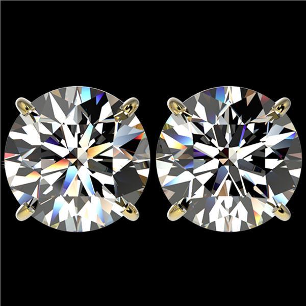5 ctw Certified Quality Diamond Stud Earrings 10k Yellow Gold - REF-1212G8W