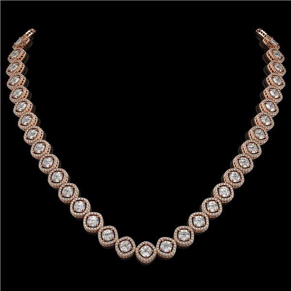 29.37 ctw Cushion Cut Diamond Micro Pave Necklace 18K Rose Gold - REF-3956X6A