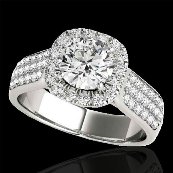 1.8 ctw Certified Diamond Solitaire Halo Ring 10k White Gold - REF-193H6R