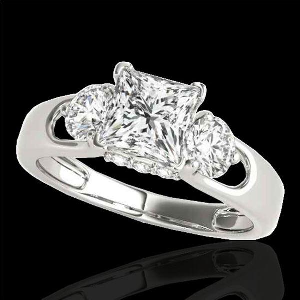 1.6 ctw VS/SI Certified Princess Cut Diamond 3 Stone Ring 10k White Gold - REF-327N3F