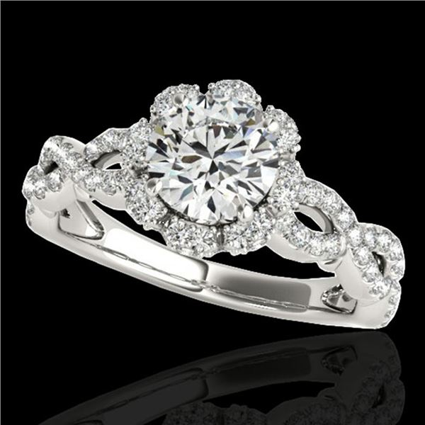 1.69 ctw Certified Diamond Solitaire Halo Ring 10k White Gold - REF-197Y8X