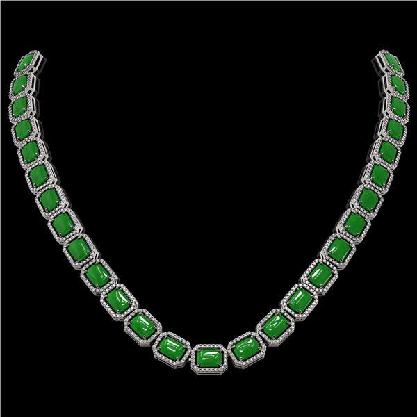 56.69 ctw Jade & Diamond Micro Pave Halo Necklace 10k White Gold - REF-673X8A