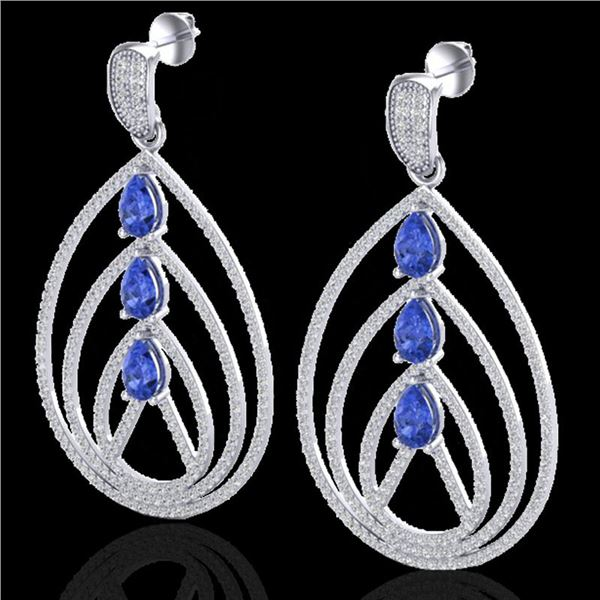 4 ctw Tanzanite & Micro Pave VS/SI Diamond Earrings 18k White Gold - REF-307K3Y