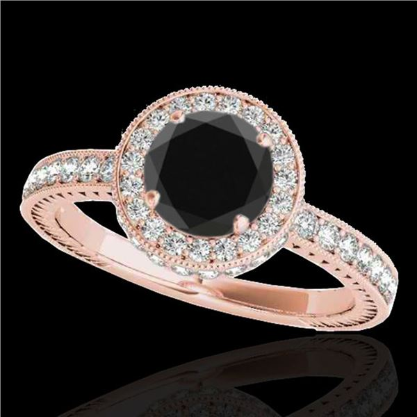 1.51 ctw Certified VS Black Diamond Solitaire Halo Ring 10k Rose Gold - REF-56X2A