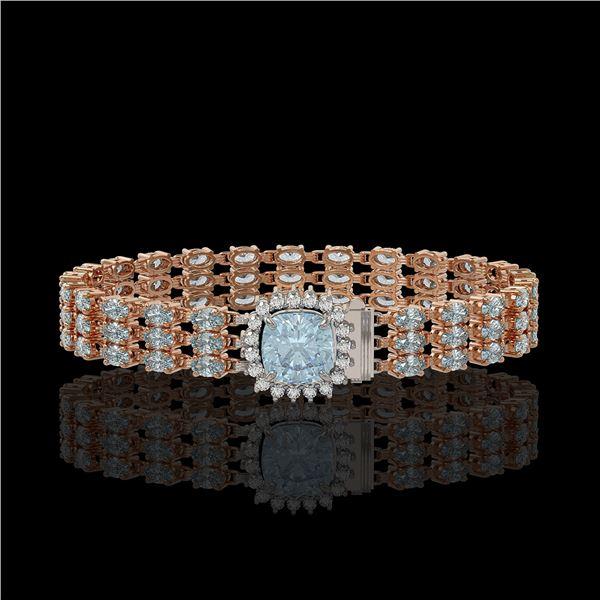 29.89 ctw Sky Topaz & Diamond Bracelet 14K Rose Gold - REF-281W8H