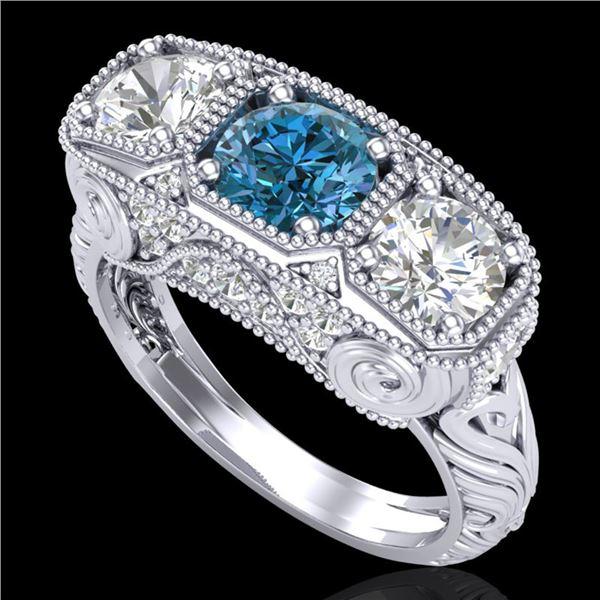 2.51 ctw Intense Blue Diamond Art Deco 3 Stone Ring 18k White Gold - REF-345A5N