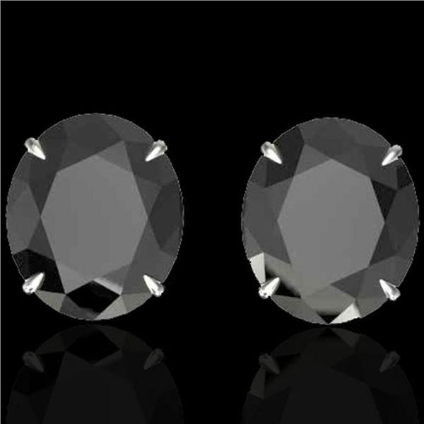 18 ctw Black Diamond Designer Stud Earrings 18k White Gold - REF-381M8G