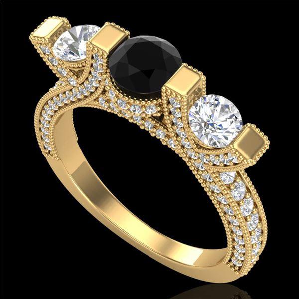2.3 ctw Fancy Black Diamond Micro Pave 3 Stone Ring 18k Yellow Gold - REF-200R2K