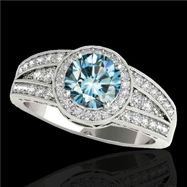1.5 ctw SI Certified Fancy Blue Diamond Solitaire Halo Ring 10k White Gold - REF-135M2G