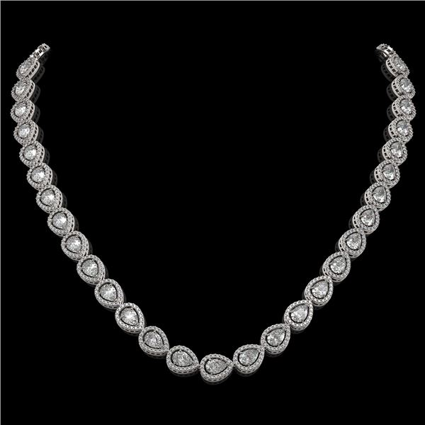 28.74 ctw Pear Cut Diamond Micro Pave Necklace 18K White Gold - REF-3951A8N