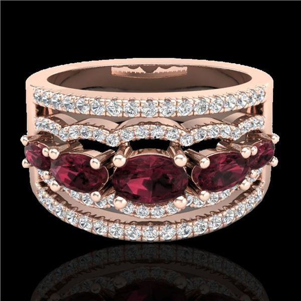 2.25 ctw Garnet & Micro Pave VS/SI Diamond Designer Ring 10k Rose Gold - REF-81H8R
