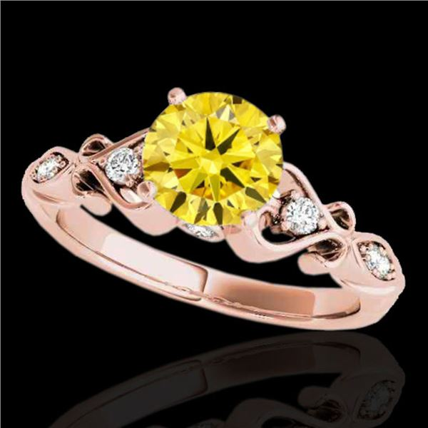 1.15 ctw Certified SI Intense Yellow Diamond Antique Ring 10k Rose Gold - REF-190X9A