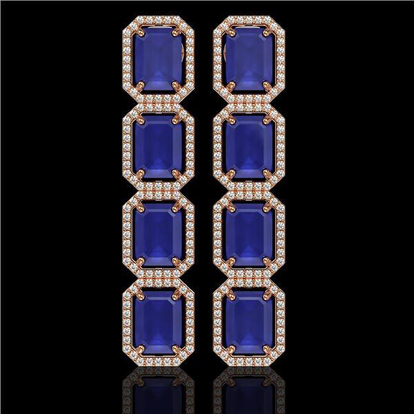 20.59 ctw Sapphire & Diamond Micro Pave Halo Earrings 10k Rose Gold - REF-213W8H