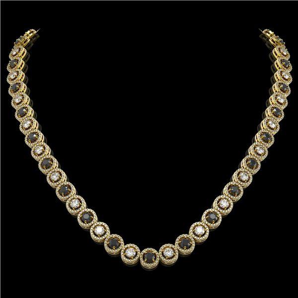 20.35 ctw Black & Diamond Micro Pave Necklace 18K Yellow Gold - REF-1302W5H