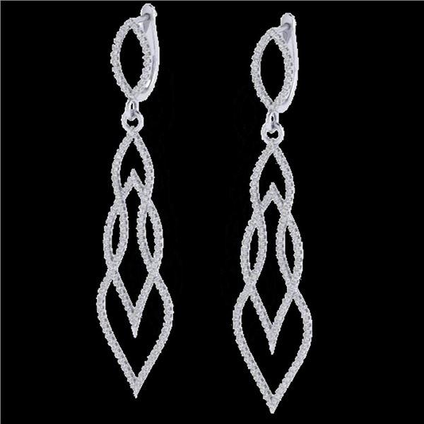 1.90 ctw Micro Pave VS/SI Diamond Certified Earrings 14k White Gold - REF-143K5Y