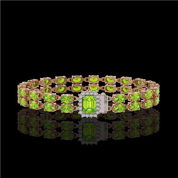16.92 ctw Peridot & Diamond Bracelet 14K Rose Gold - REF-236K4Y