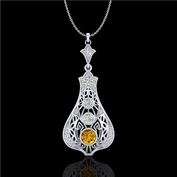 1.75 ctw Intense Fancy Yellow Diamond Art Deco Necklace 18k White Gold - REF-254K5Y