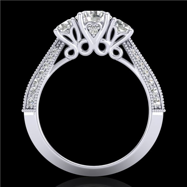1.81 ctw VS/SI Diamond Art Deco 3 Stone Ring 18k White Gold - REF-225H2R