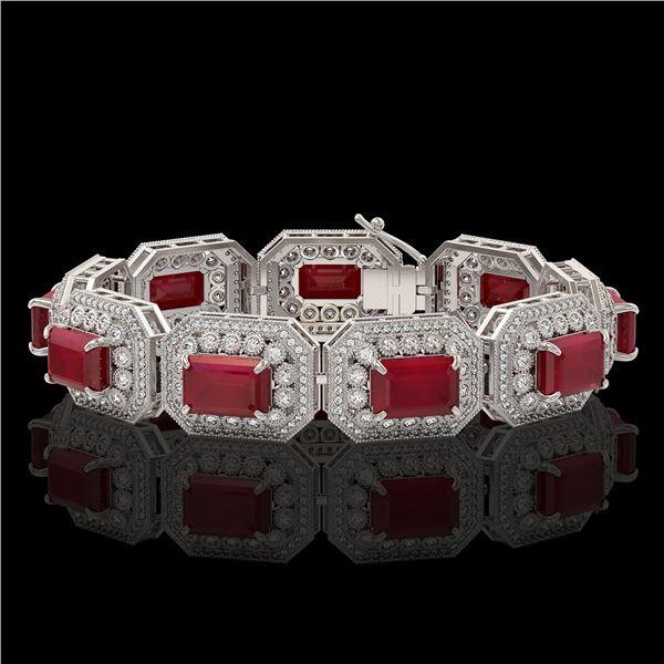 61.92 ctw Certified Ruby & Diamond Victorian Bracelet 14K White Gold - REF-1288A4N