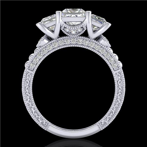 2.66 ctw Princess VS/SI Diamond Art Deco 3 Stone Ring 18k White Gold - REF-581N8F