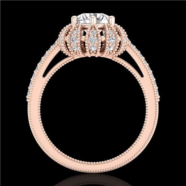 1.65 ctw VS/SI Diamond Art Deco Micro Pave Ring 18k Rose Gold - REF-427M3G