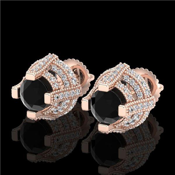 2.75 ctw Fancy Black Diamond Micro Pave Stud Earrings 18k Rose Gold - REF-180A2N