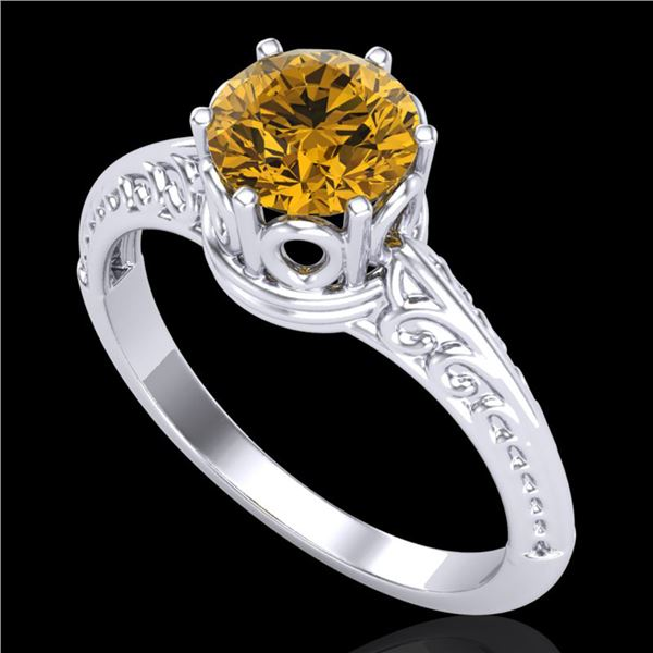 1 ctw Intense Yellow Diamond Engagment Art Deco Ring 18k White Gold - REF-180K2Y