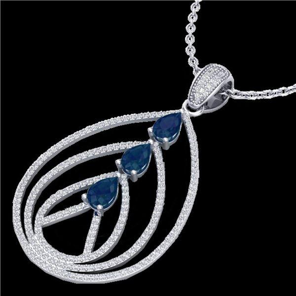 2 ctw Sapphire & Micro Pave VS/SI Diamond Necklace 18k White Gold - REF-163K6Y