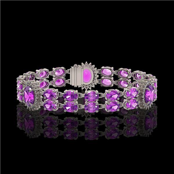 15.62 ctw Amethyst & Diamond Bracelet 14K White Gold - REF-254F5M