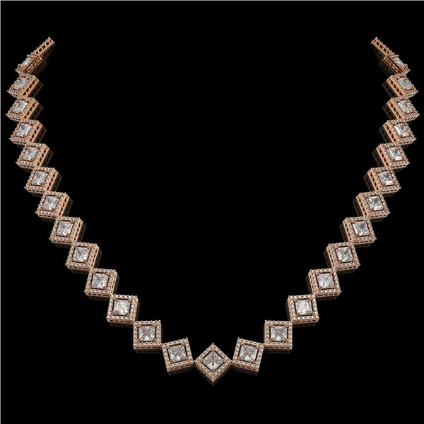 26.88 ctw Princess Cut Diamond Micro Pave Necklace 18K Rose Gold - REF-3684X3A