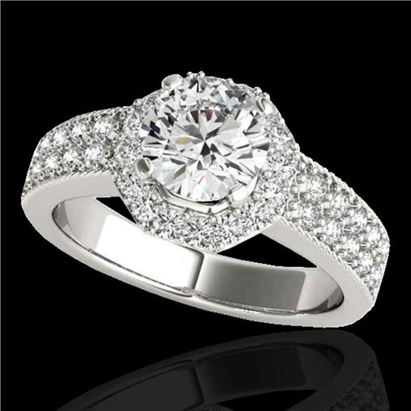 1.4 ctw Certified Diamond Solitaire Halo Ring 10k White Gold - REF-204M5G