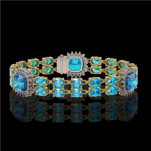 18.97 ctw Swiss Topaz & Diamond Bracelet 14K Yellow Gold - REF-237N8F