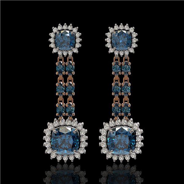 20.04 ctw London Topaz & Diamond Earrings 14K Rose Gold - REF-239H8R