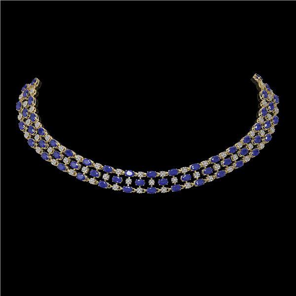 63.65 ctw Sapphire & Diamond Necklace 10K Yellow Gold - REF-618R2K