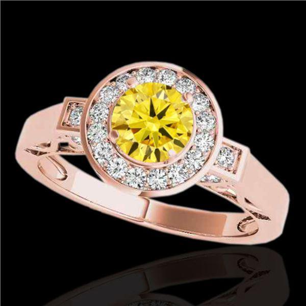 1.5 ctw Certified SI/I Fancy Intense Yellow Diamond Ring 10k Rose Gold - REF-204M5G
