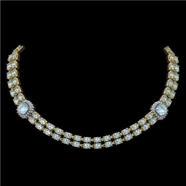 33.39 ctw Aquamarine & Diamond Necklace 14K Yellow Gold - REF-527G3W