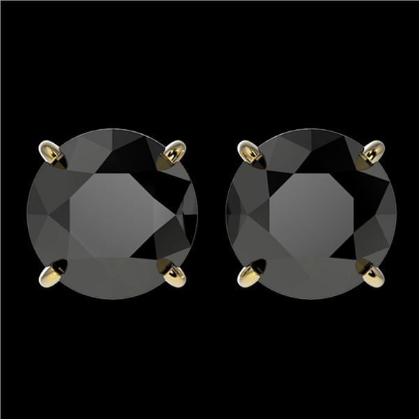 3.70 ctw Fancy Black Diamond Solitaire Stud Earrings 10k Yellow Gold - REF-60M3G