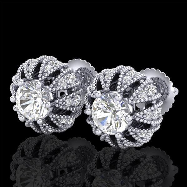 2.01 ctw VS/SI Diamond Art Deco Micro Pave Stud Earrings 18k White Gold - REF-272G8W