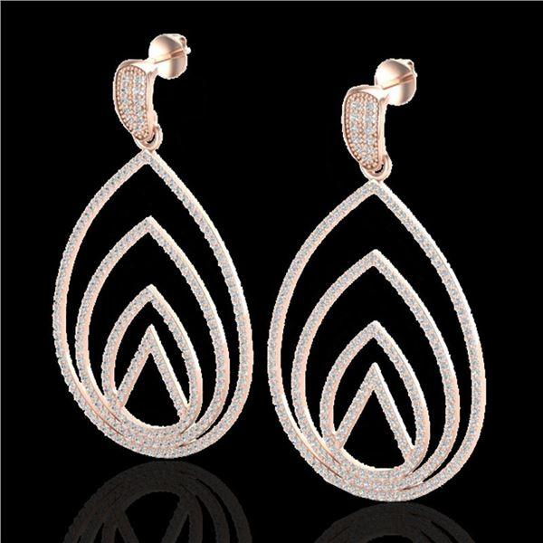 2.50 ctw Micro Pave VS/SI Diamond Designer Earrings 14k Rose Gold - REF-221W6H