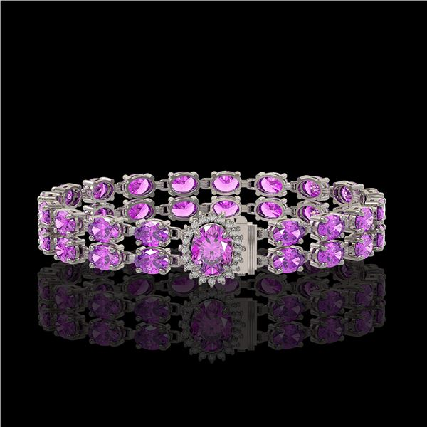 14.1 ctw Amethyst & Diamond Bracelet 14K White Gold - REF-209W3H