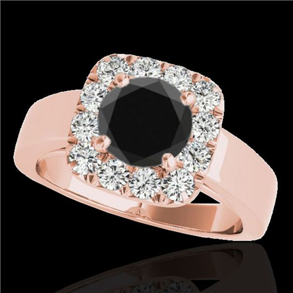 1.55 ctw Certified VS Black Diamond Solitaire Halo Ring 10k Rose Gold - REF-57W3H