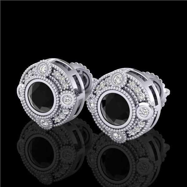 1.5 ctw Fancy Black Diamond Art Deco Stud Earrings 18k White Gold - REF-113M6G