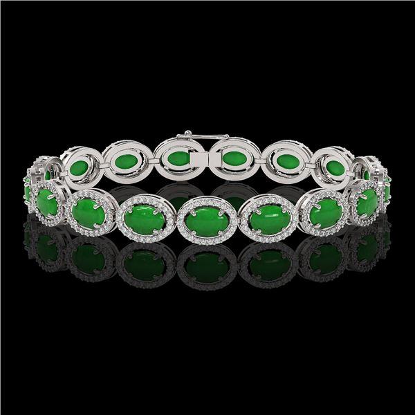 21.78 ctw Jade & Diamond Micro Pave Halo Bracelet 10k White Gold - REF-250W9H