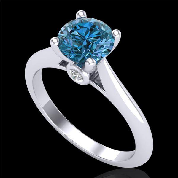 1.36 ctw Fancy Intense Blue Diamond Art Deco Ring 18k White Gold - REF-170A5N