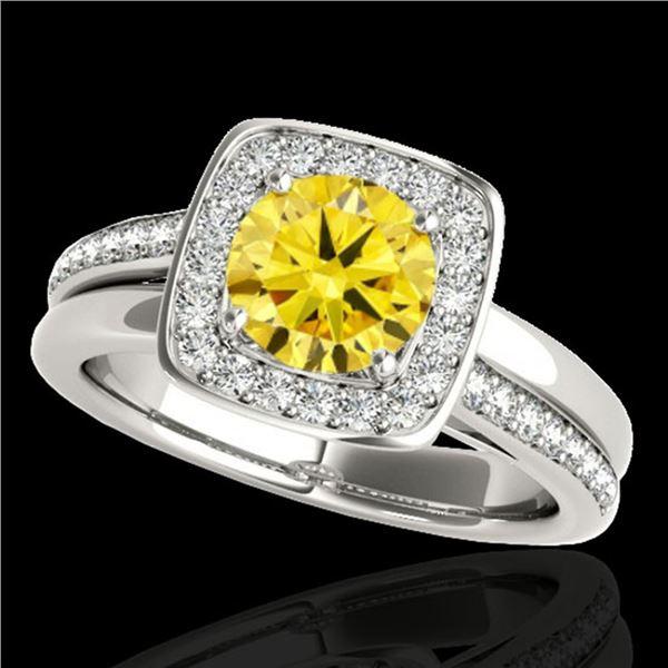 1.33 ctw Certified SI/I Fancy Intense Yellow Diamond Ring 10k White Gold - REF-197R8K