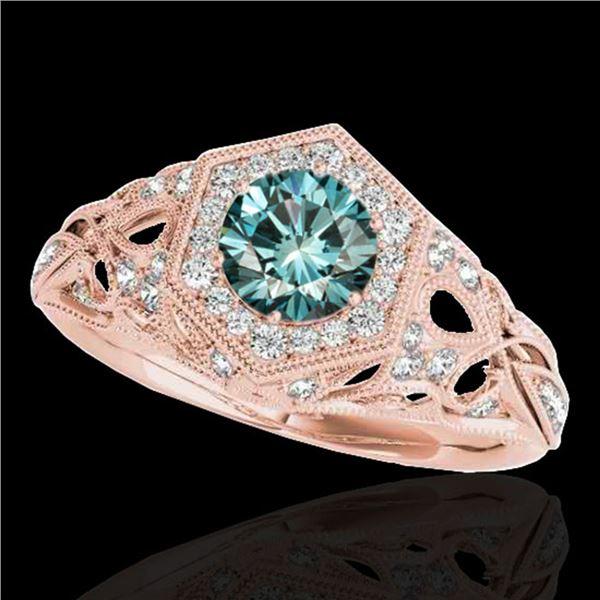 1.4 ctw SI Certified Fancy Blue Diamond Antique Ring 10k Rose Gold - REF-150H2R