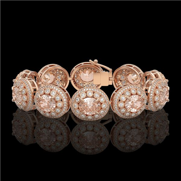 40.92 ctw Morganite & Diamond Victorian Bracelet 14K Rose Gold - REF-1709A3N
