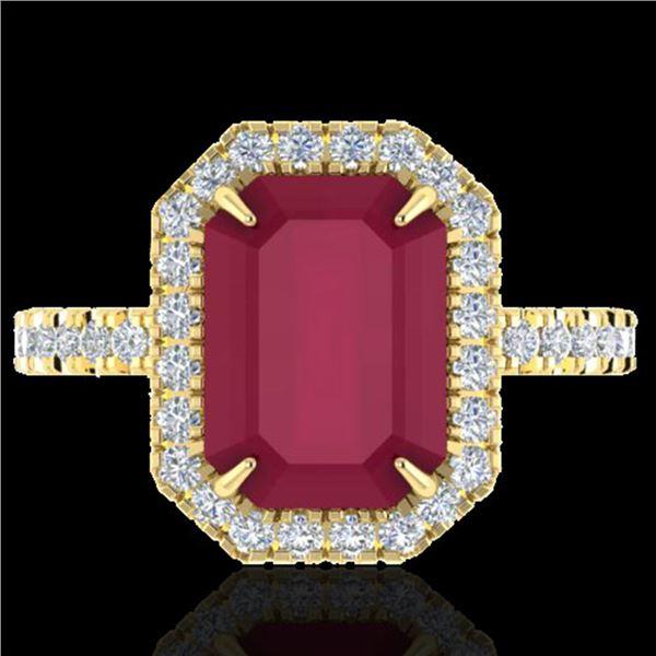 5.33 ctw Ruby & Micro Pave VS/SI Diamond Ring 18k Yellow Gold - REF-94M4G