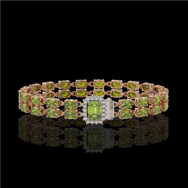 16.97 ctw Tourmaline & Diamond Bracelet 14K Rose Gold - REF-236G4W